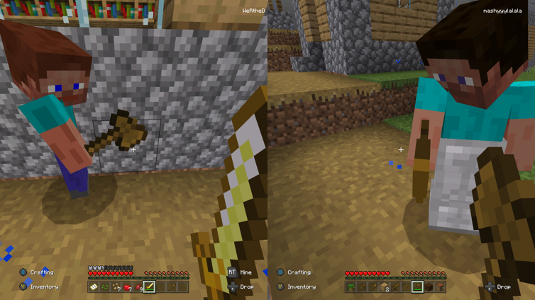 Image showing two player minecraft on xbox with a split screen